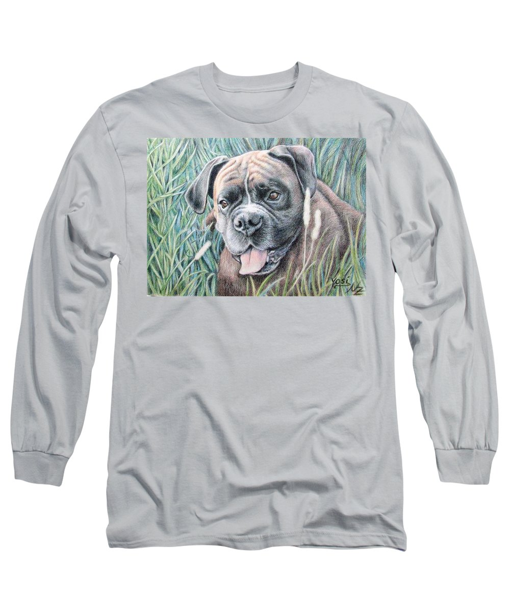 Dog Long Sleeve T-Shirt featuring the drawing Boxer Yosi by Nicole Zeug