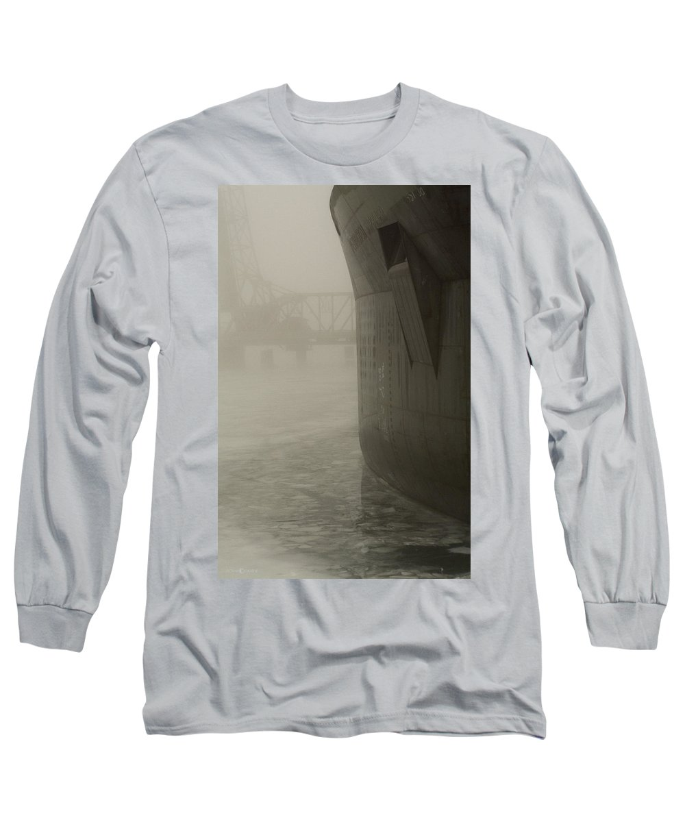 Water Long Sleeve T-Shirt featuring the photograph Bridge And Barge by Tim Nyberg