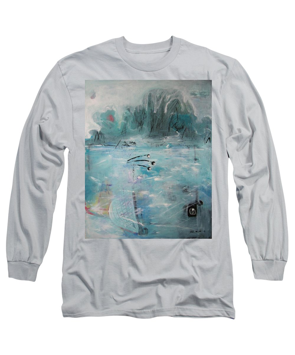 Abstract Paintings Long Sleeve T-Shirt featuring the painting Brierly Beach by Seon-Jeong Kim