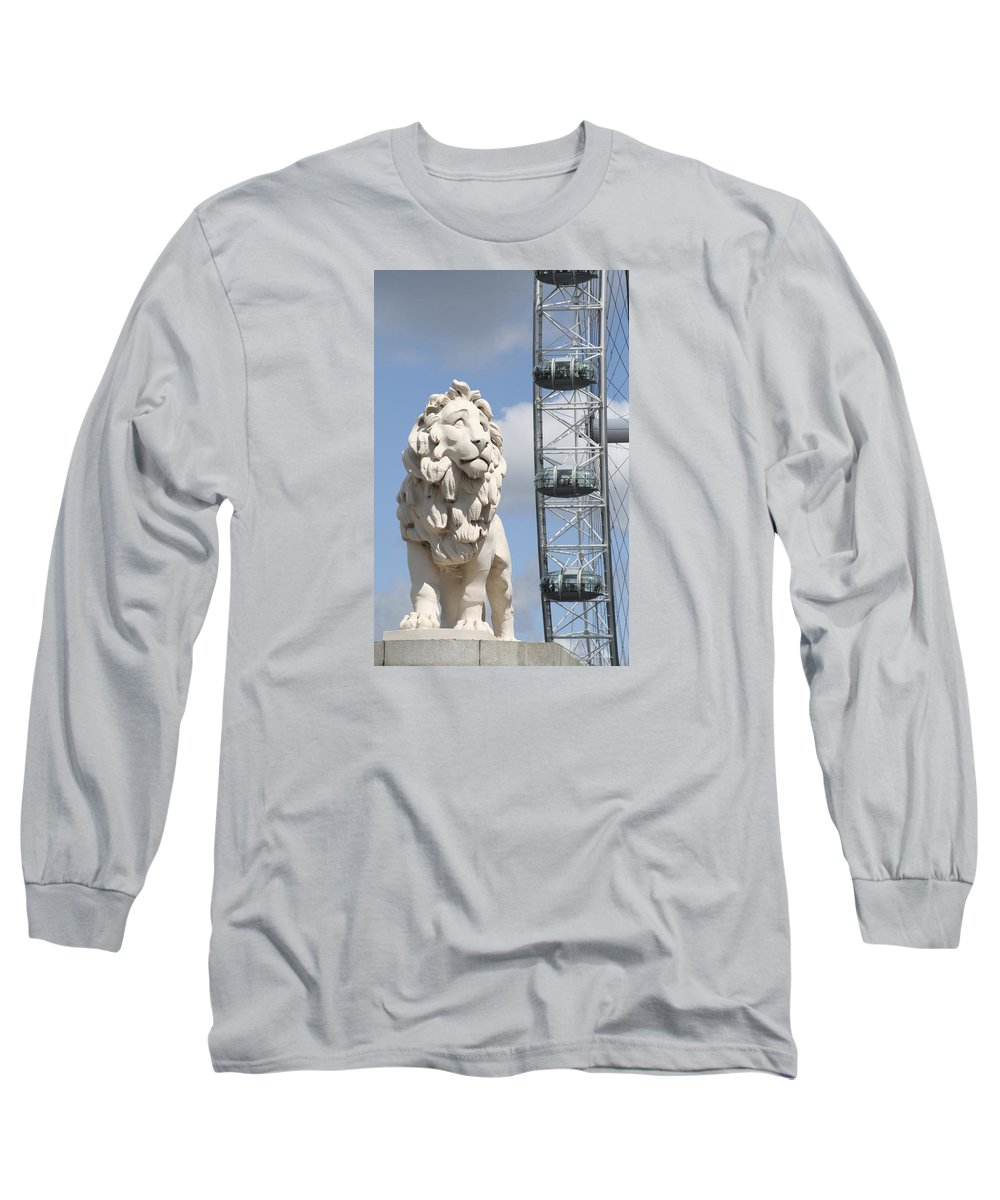 Lion Long Sleeve T-Shirt featuring the photograph Britannia Lion by Margie Wildblood