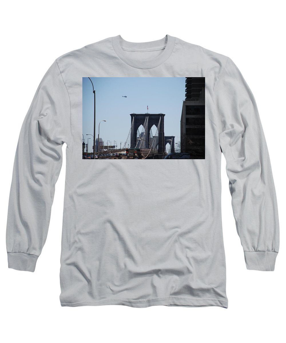 Architecture Long Sleeve T-Shirt featuring the photograph Brooklyn Bridge by Rob Hans
