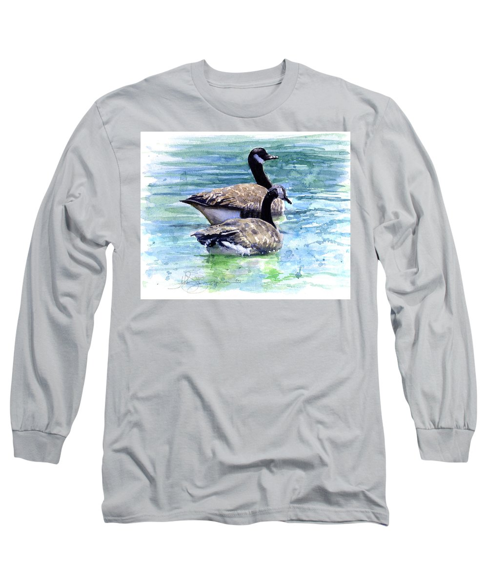 Canada Long Sleeve T-Shirt featuring the painting Canada Geese by John D Benson