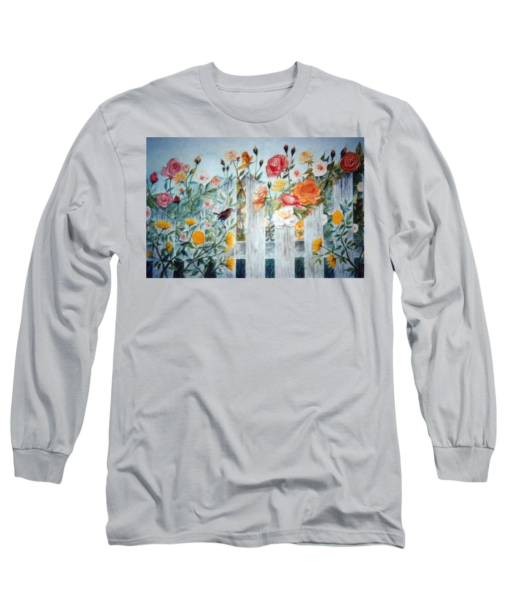 Roses; Flowers; Sc Wren Long Sleeve T-Shirt featuring the painting Carolina Wren And Roses by Ben Kiger