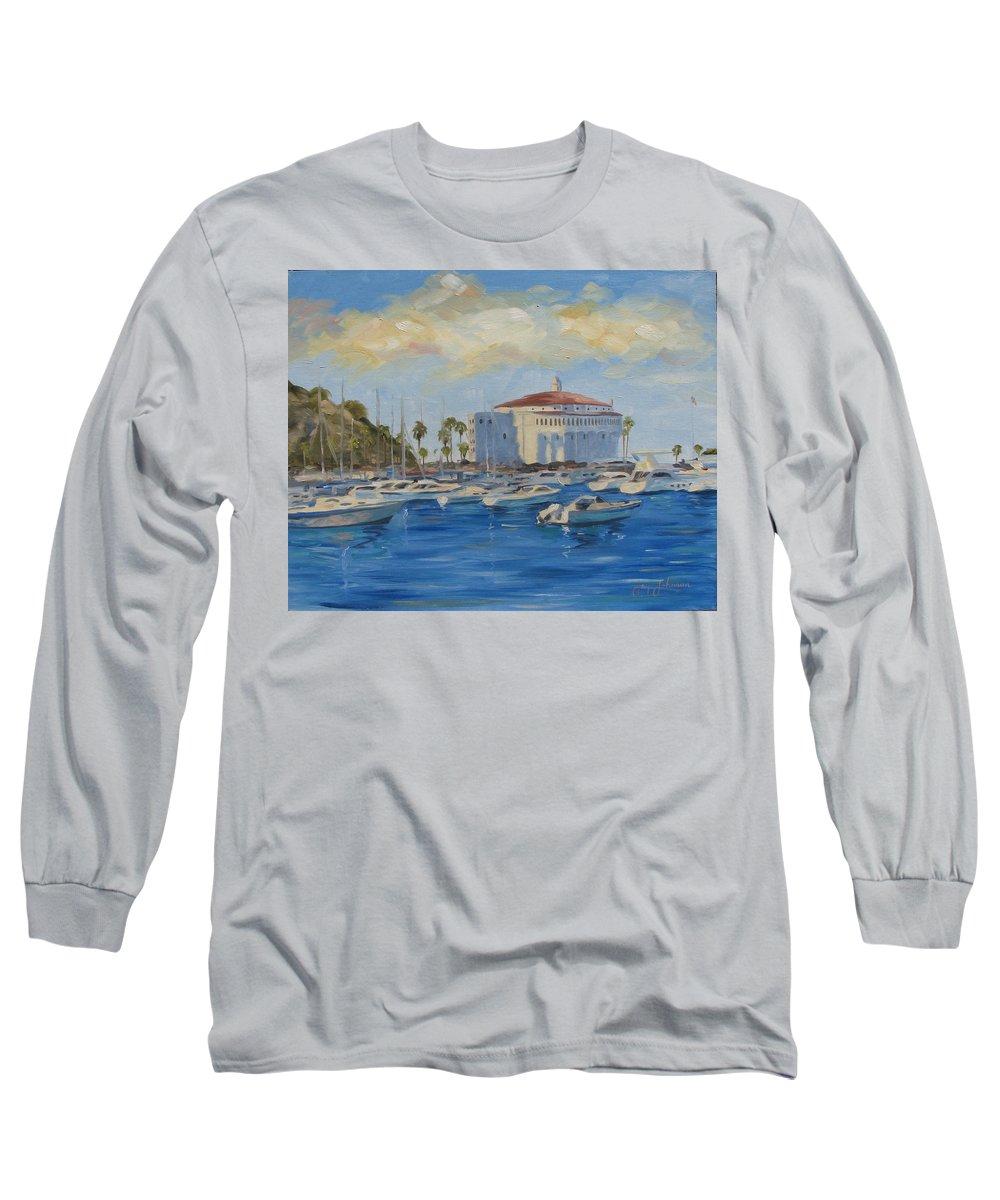 California Long Sleeve T-Shirt featuring the painting Catallina Casino by Jay Johnson