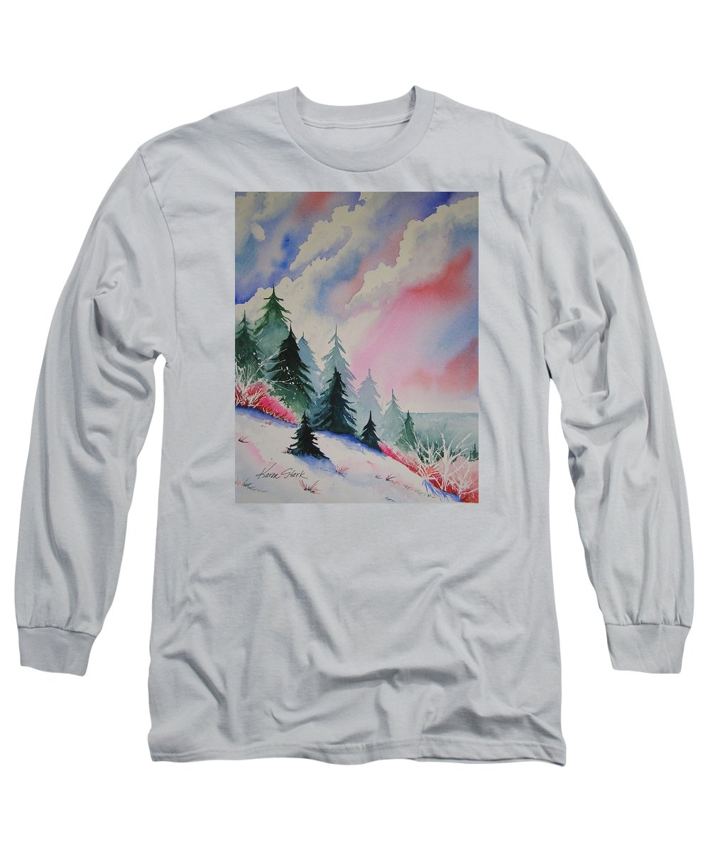 Snow Long Sleeve T-Shirt featuring the painting Cedar Fork Snow by Karen Stark