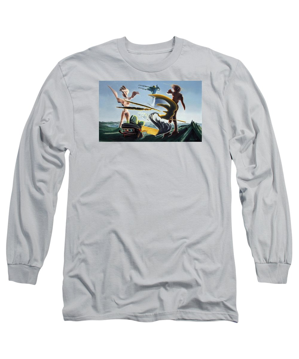 Landscape Long Sleeve T-Shirt featuring the painting Civilization Found Intact by Dave Martsolf