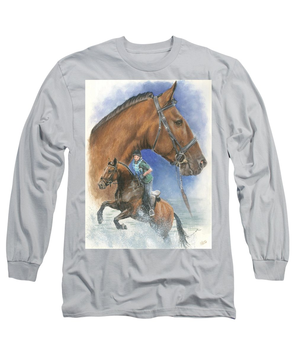 Hunter Jumper Long Sleeve T-Shirt featuring the mixed media Cleveland Bay by Barbara Keith