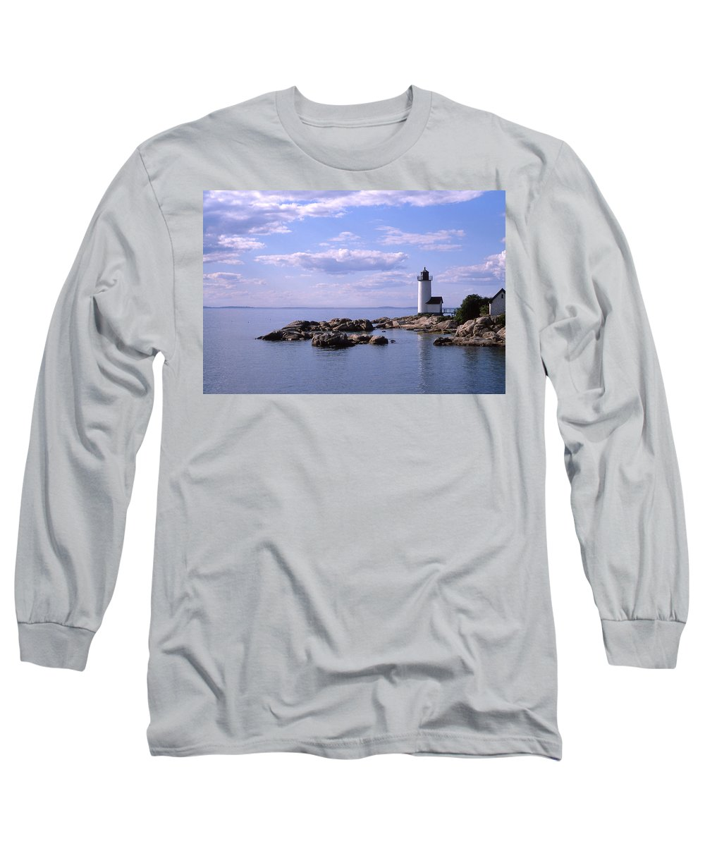 Landscape Lighthouse New England Nautical Long Sleeve T-Shirt featuring the photograph Cnrf0901 by Henry Butz