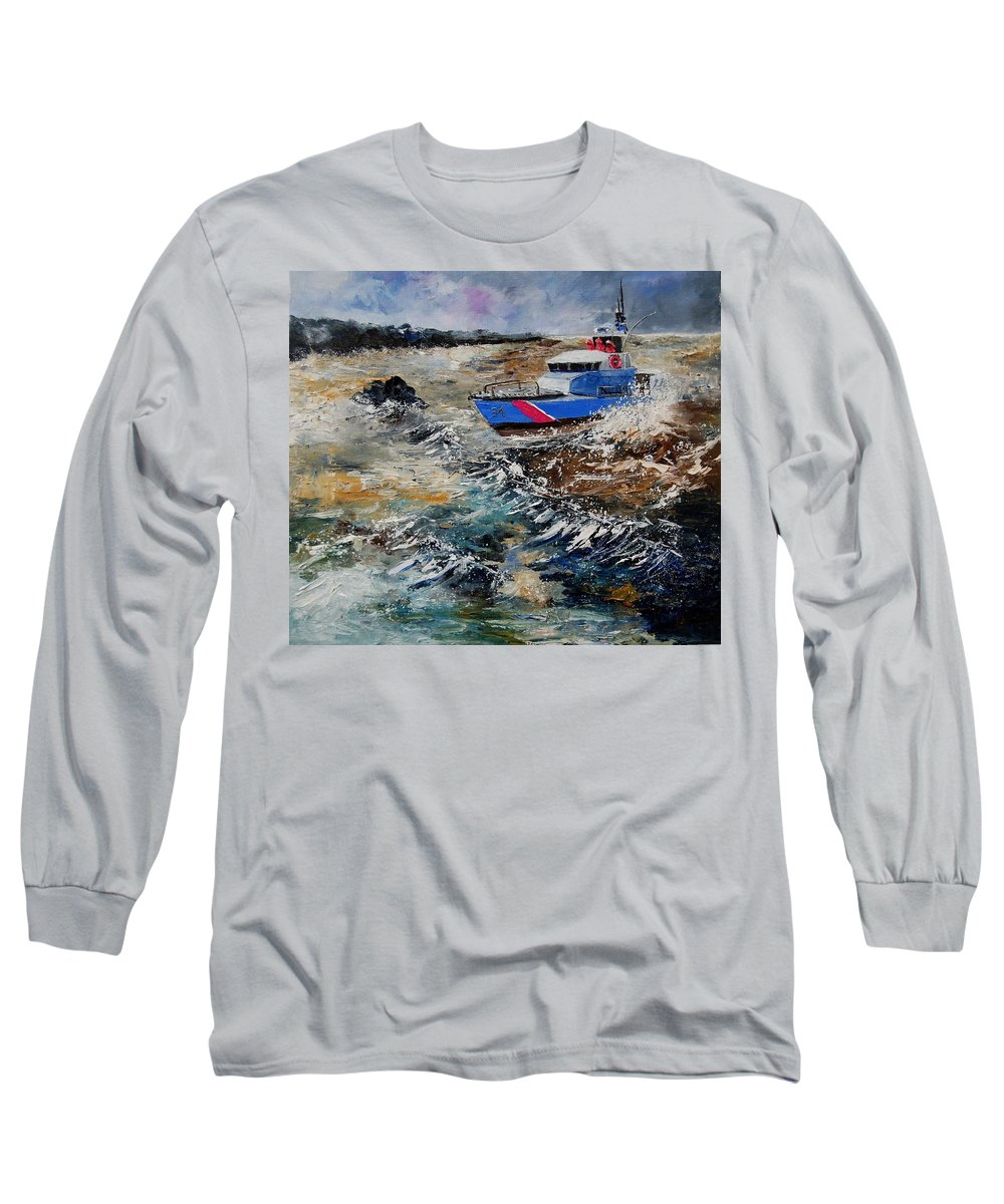 Sea Long Sleeve T-Shirt featuring the painting Coastguards by Pol Ledent