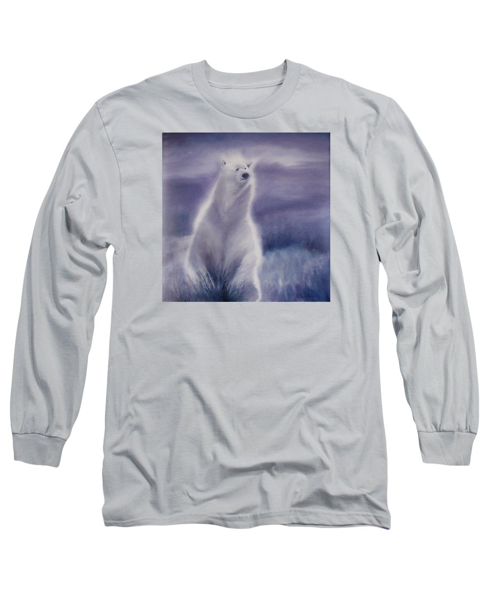 Bear Long Sleeve T-Shirt featuring the painting Cool Bear by Allison Ashton