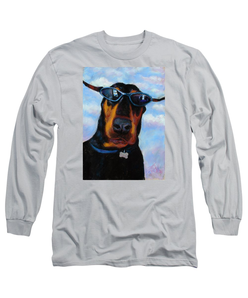 Doberman Pincher Art Long Sleeve T-Shirt featuring the painting Cool Dob by Billie Colson