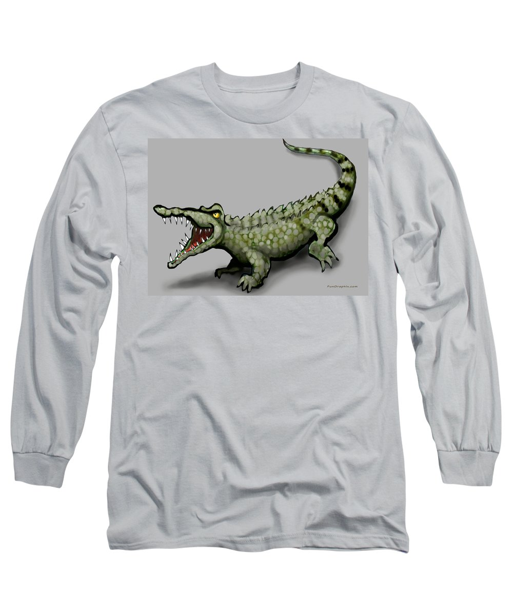Crocodile Long Sleeve T-Shirt featuring the greeting card Crocodile by Kevin Middleton