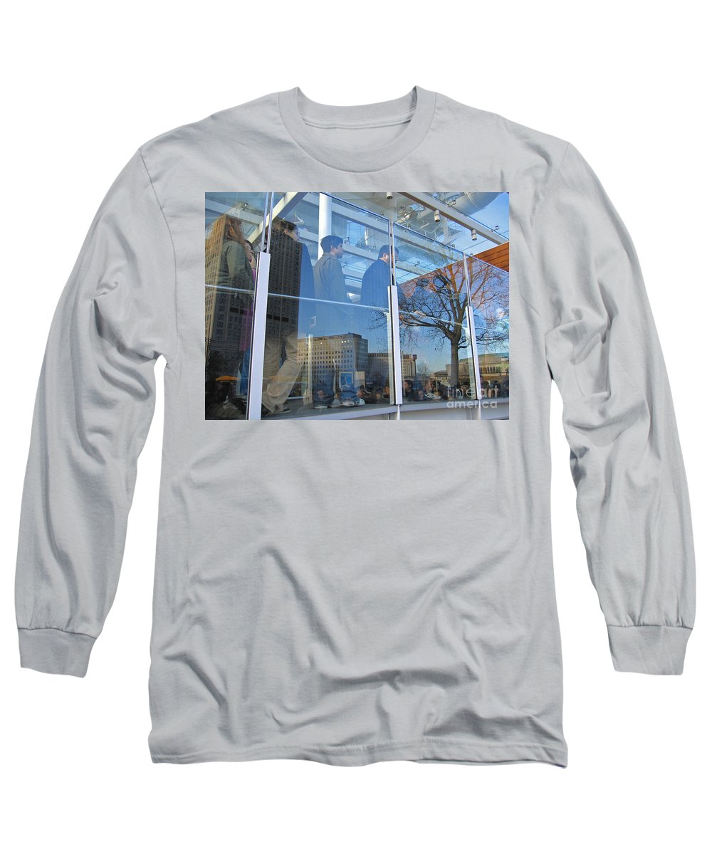 London Long Sleeve T-Shirt featuring the photograph Crowd Queuing Up by Ann Horn