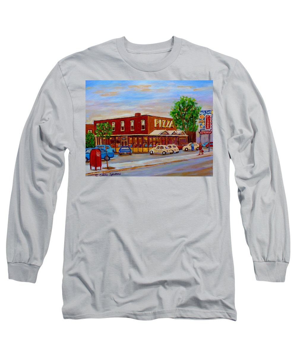Tasty Food Pizza Long Sleeve T-Shirt featuring the painting Decarie Tasty Food Pizza by Carole Spandau