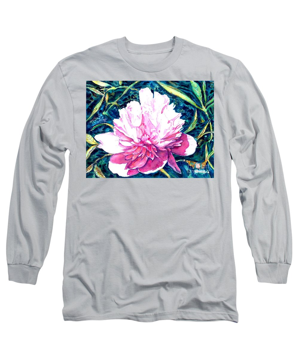 Peony Long Sleeve T-Shirt featuring the painting Delightful Peony by Norma Boeckler