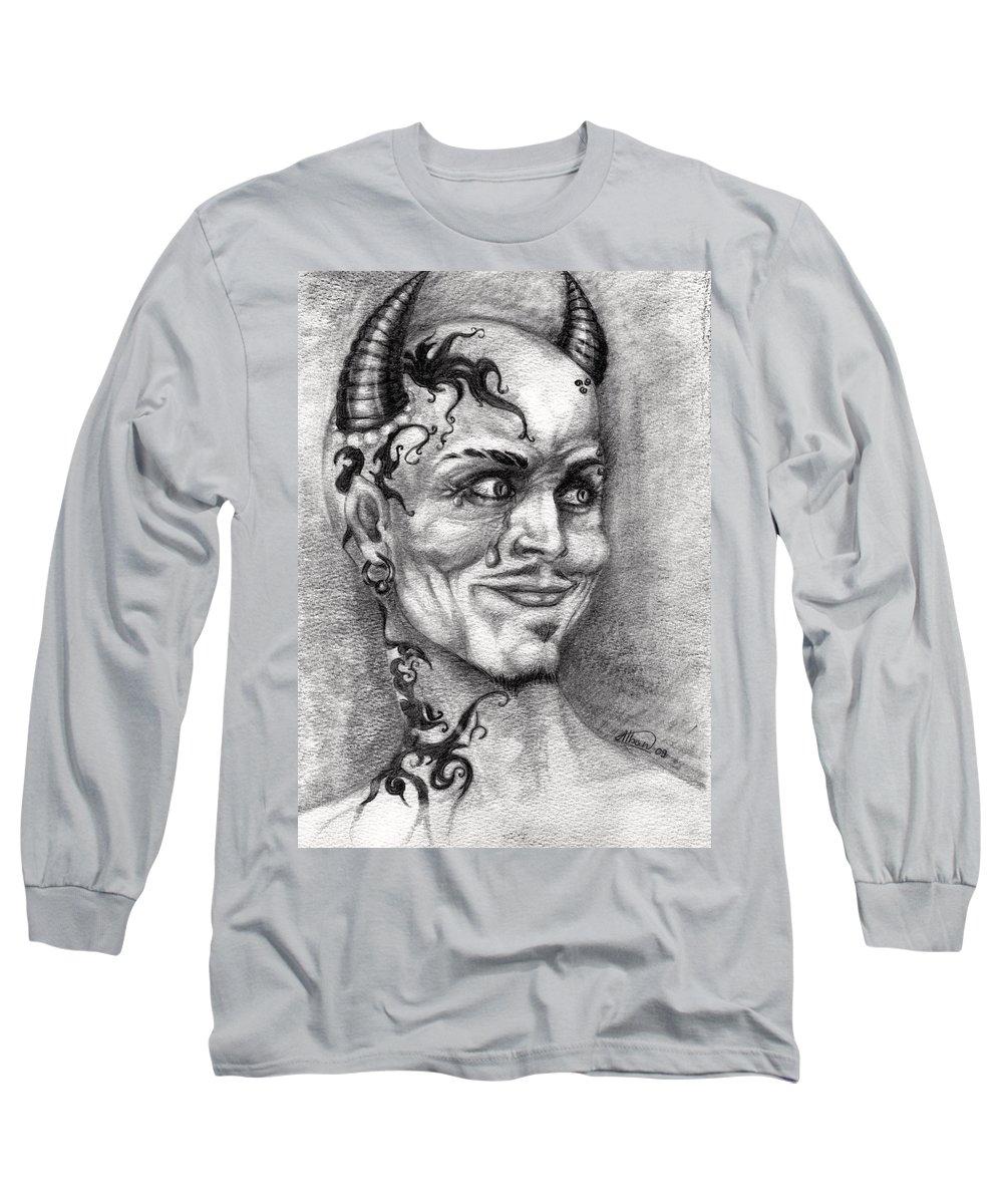 Satan Long Sleeve T-Shirt featuring the drawing Devil May Cry by Alban Dizdari