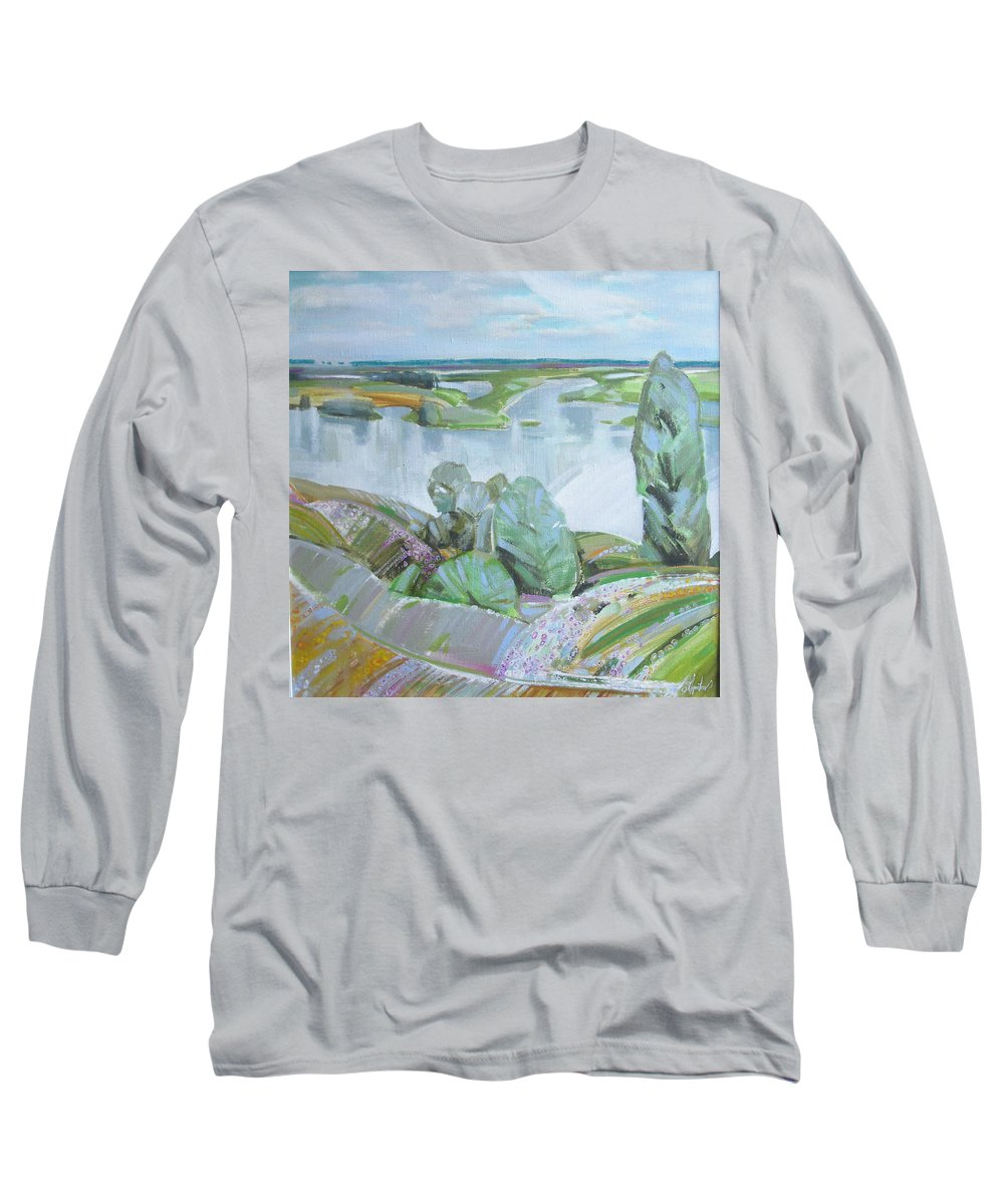 Landscape Long Sleeve T-Shirt featuring the painting Dnepro River by Sergey Ignatenko