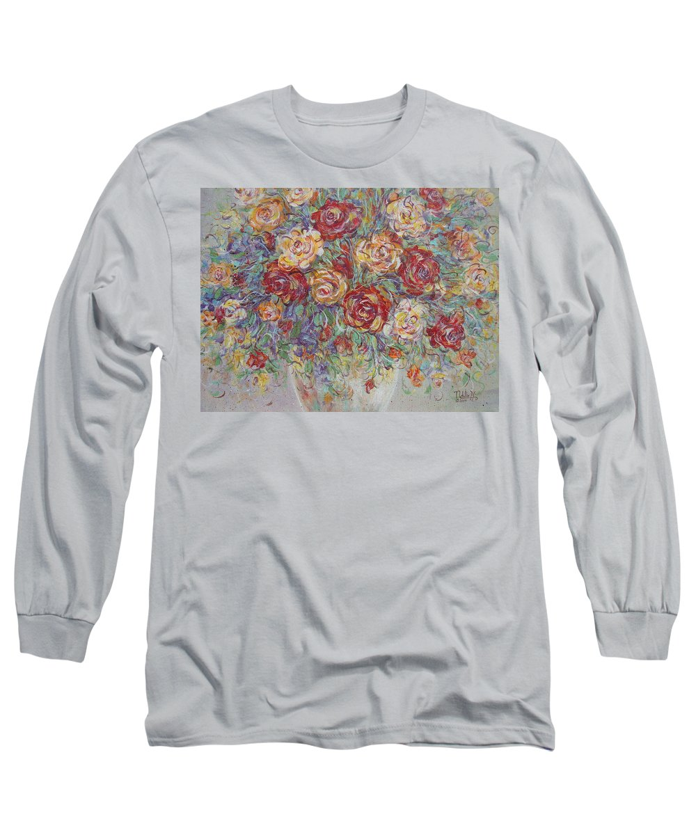 Flowers Long Sleeve T-Shirt featuring the painting Double Delight. by Natalie Holland