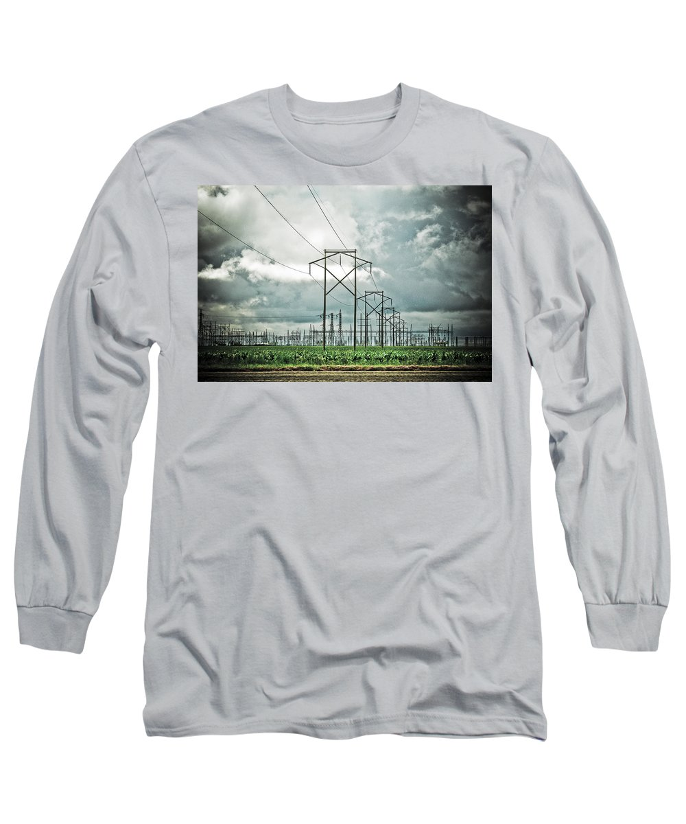 Electric Long Sleeve T-Shirt featuring the photograph Electric Lines And Weather by Marilyn Hunt