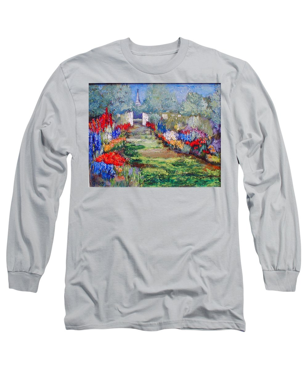 Landscape Long Sleeve T-Shirt featuring the painting Enter His Gates by Gail Kirtz