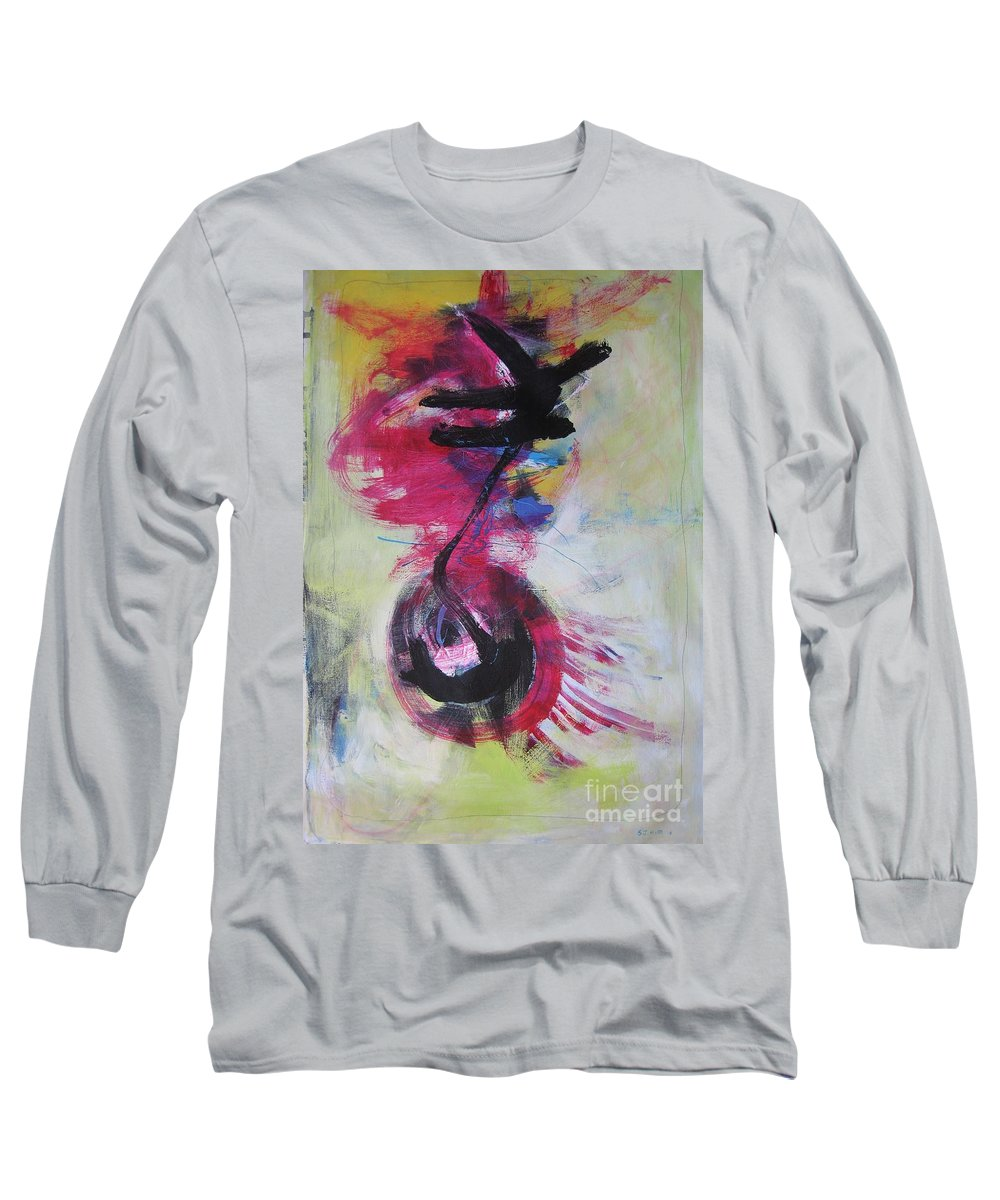 Abstract Paintings Red Paintings Long Sleeve T-Shirt featuring the painting Everything A Mistake-abstract Red Painting by Seon-Jeong Kim