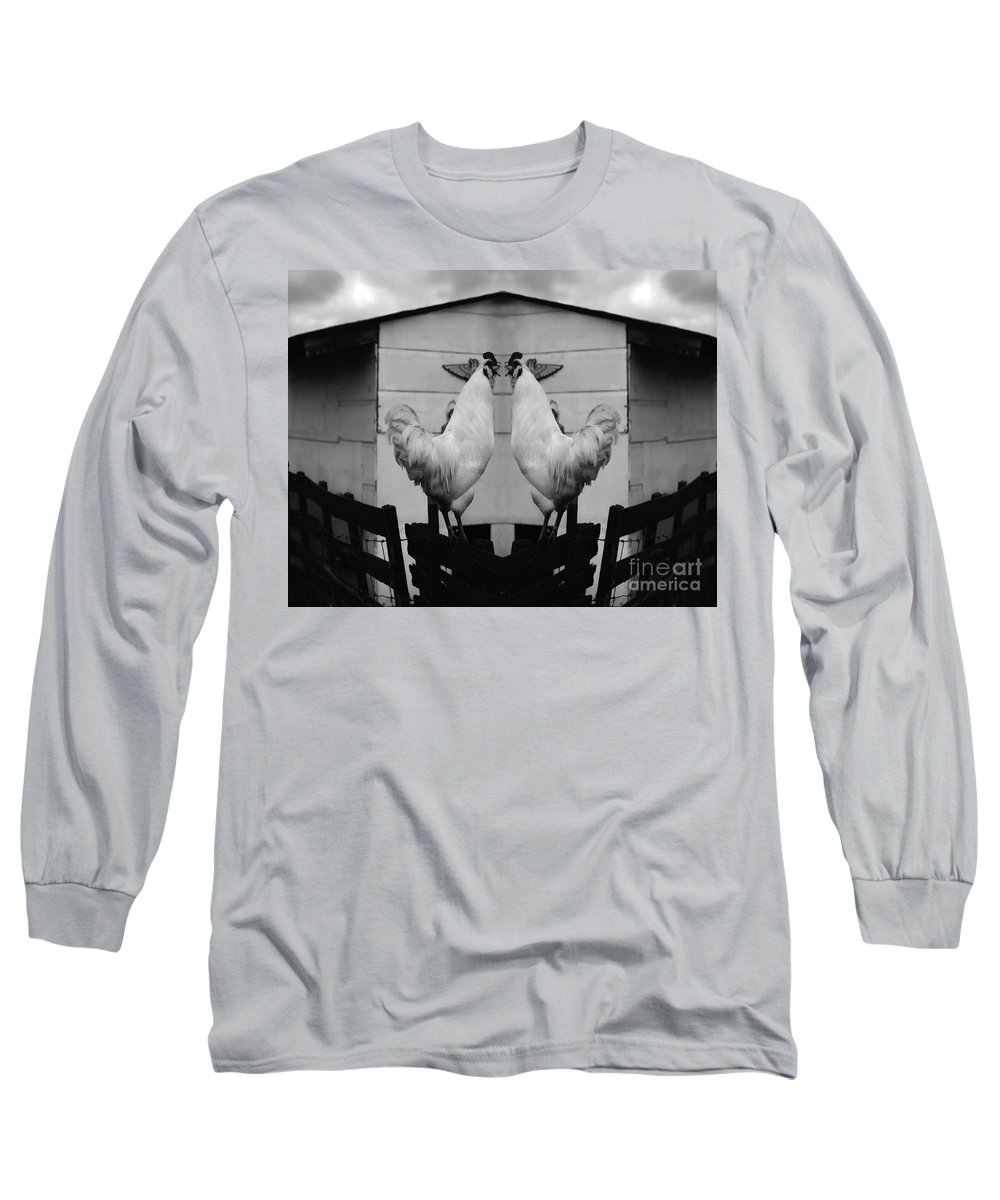 Rooster Long Sleeve T-Shirt featuring the photograph Face Off by Peter Piatt