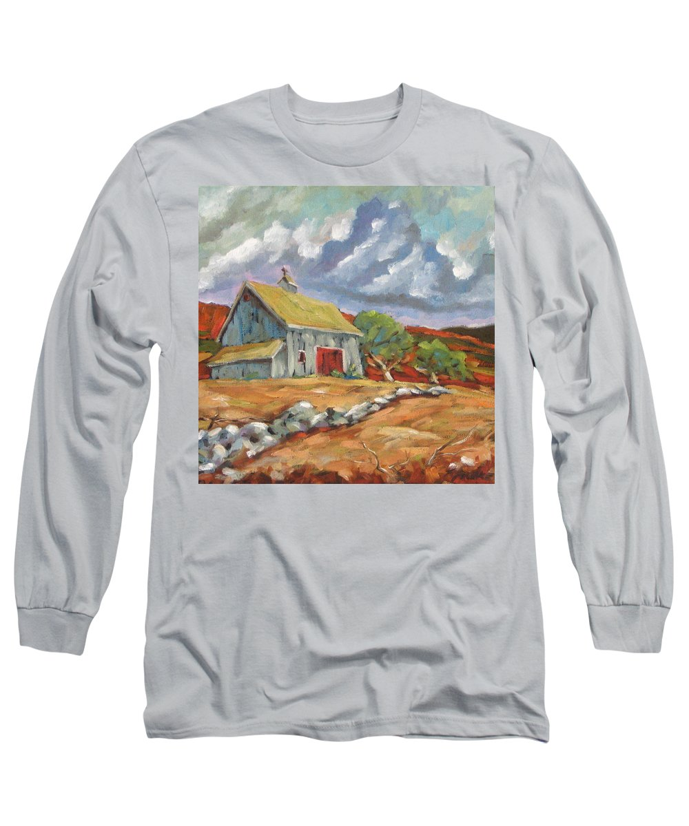 Farm Long Sleeve T-Shirt featuring the painting Fall Scene by Richard T Pranke