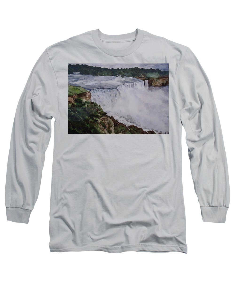 Water Falls Long Sleeve T-Shirt featuring the painting Falls by Tanuja Munakala