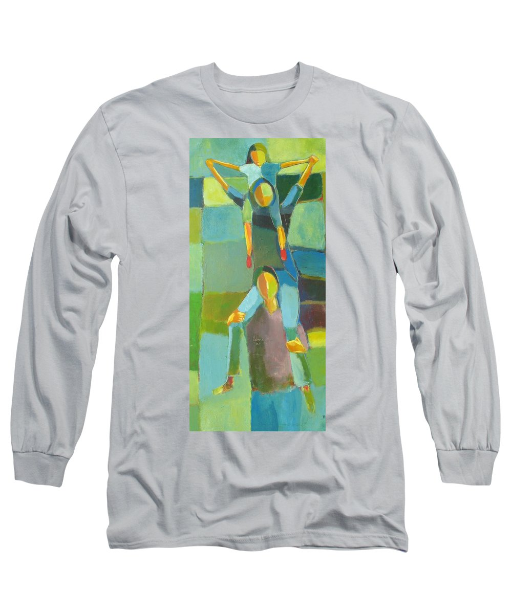 Abstract Long Sleeve T-Shirt featuring the painting Family Joy by Habib Ayat