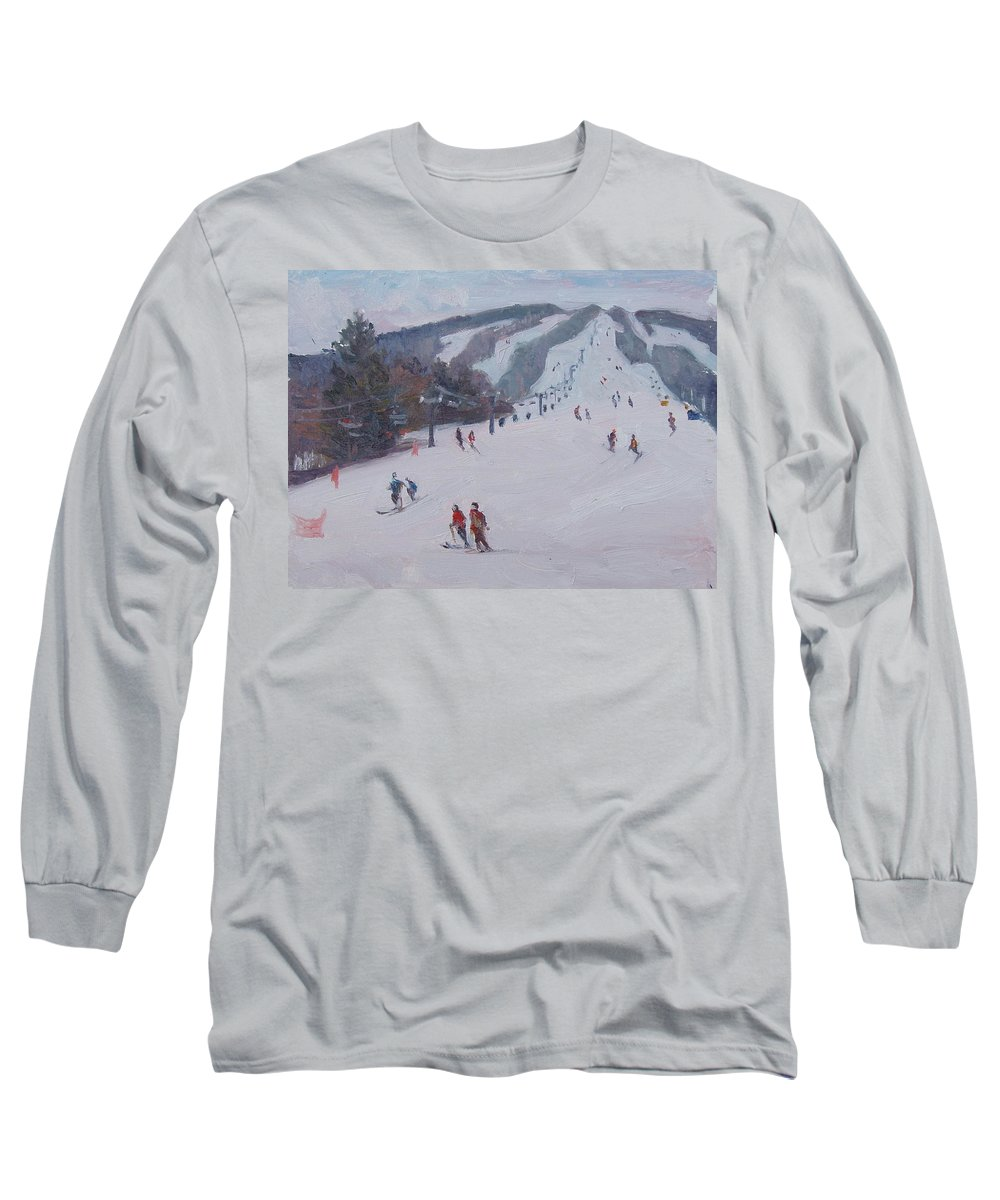 Landscape Long Sleeve T-Shirt featuring the painting Family Ski by Dianne Panarelli Miller