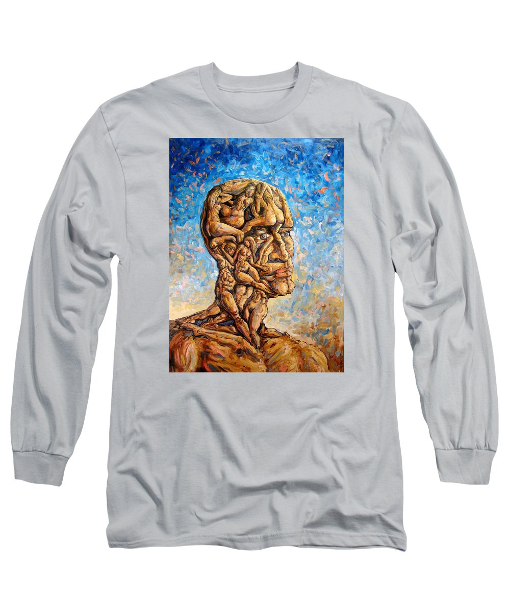 Surrealism Long Sleeve T-Shirt featuring the painting Fantasies Of A 120 Years Old Man Struggling To Survive by Darwin Leon