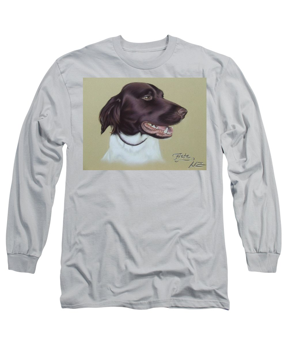 Dog Long Sleeve T-Shirt featuring the pastel Fiete by Nicole Zeug