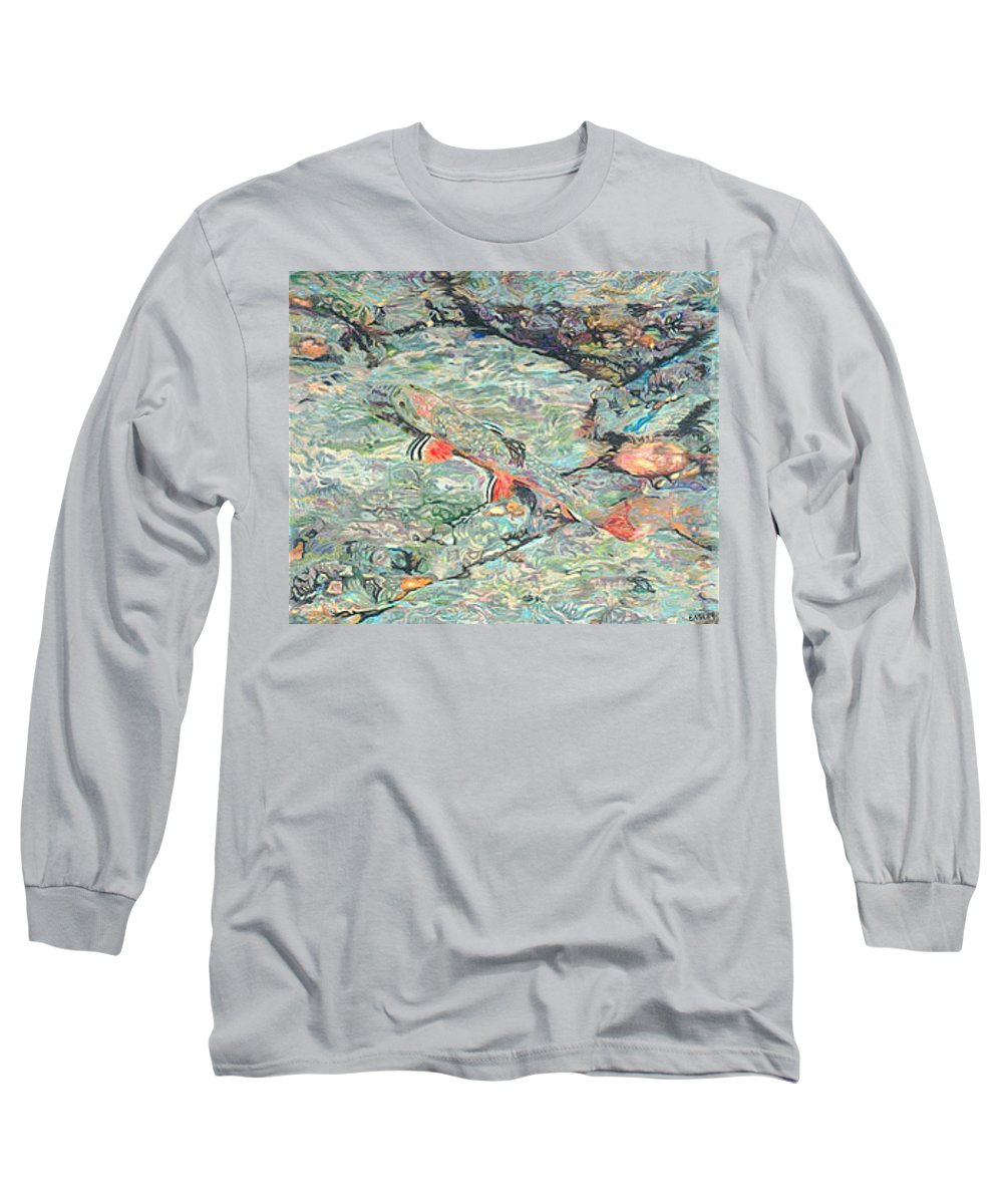 Art Long Sleeve T-Shirt featuring the drawing Fish Art Trout Art Brook Trout Brookie Artwork Nature Underwater Wildlife Creek Art River Art Lake by Baslee Troutman