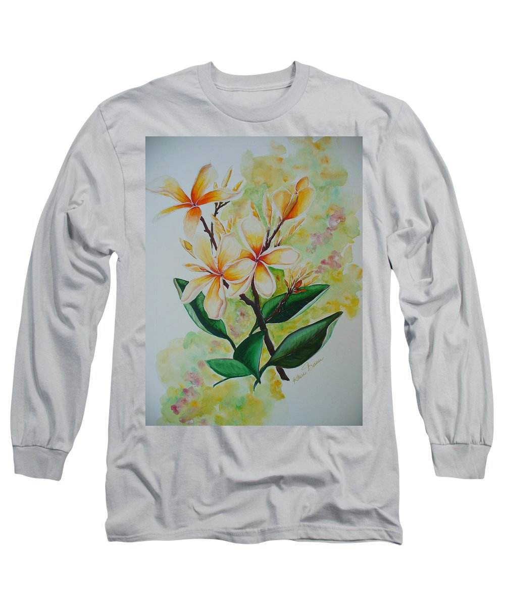 Long Sleeve T-Shirt featuring the painting Frangipangi by Karin Dawn Kelshall- Best