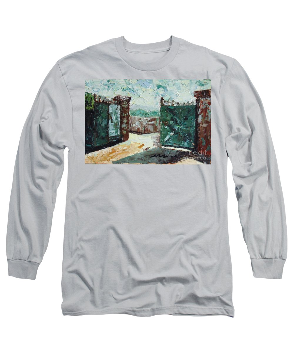 Gate Oil Canvas Long Sleeve T-Shirt featuring the painting Gate2 by Seon-Jeong Kim