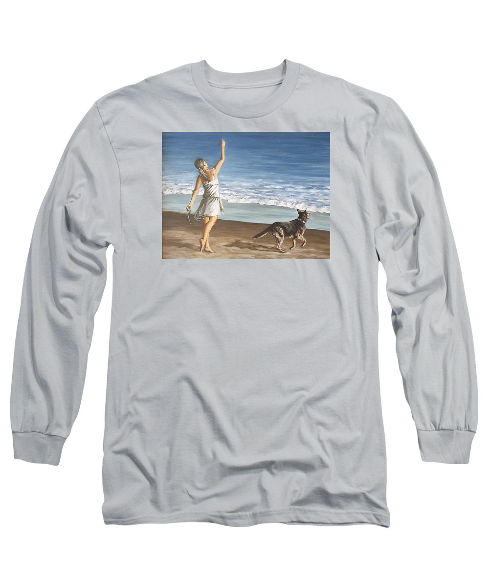 Portrait Girl Beach Dog Seascape Sea Children Figure Figurative Long Sleeve T-Shirt featuring the painting Girl And Dog by Natalia Tejera