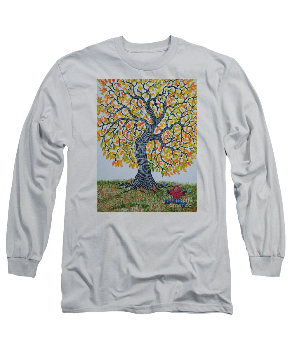 Girl Long Sleeve T-Shirt featuring the painting Girl And Leafs by Nick Gustafson