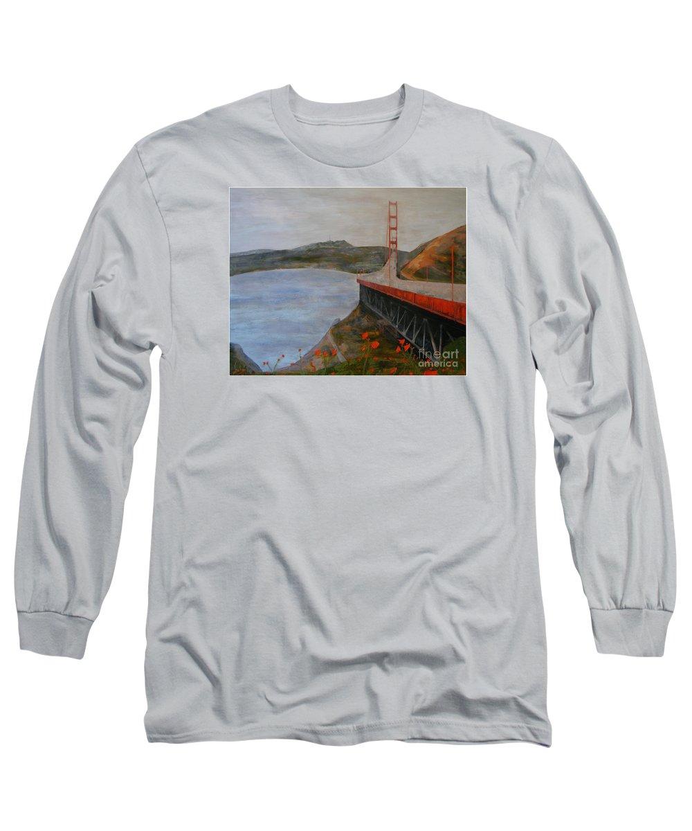 Golden Gate Bridge Long Sleeve T-Shirt featuring the painting Golden Gate Bridge by Ellen Beauregard