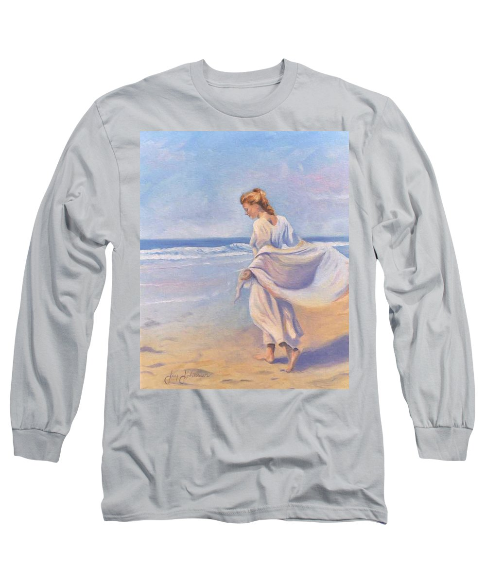Beach Long Sleeve T-Shirt featuring the painting Golden Girls by Jay Johnson