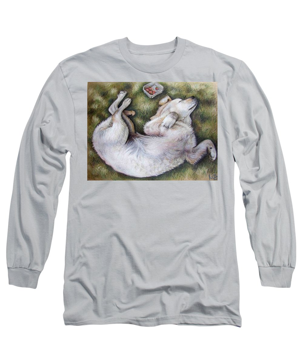 Dog Long Sleeve T-Shirt featuring the pastel Golden Retriever Puppy by Nicole Zeug