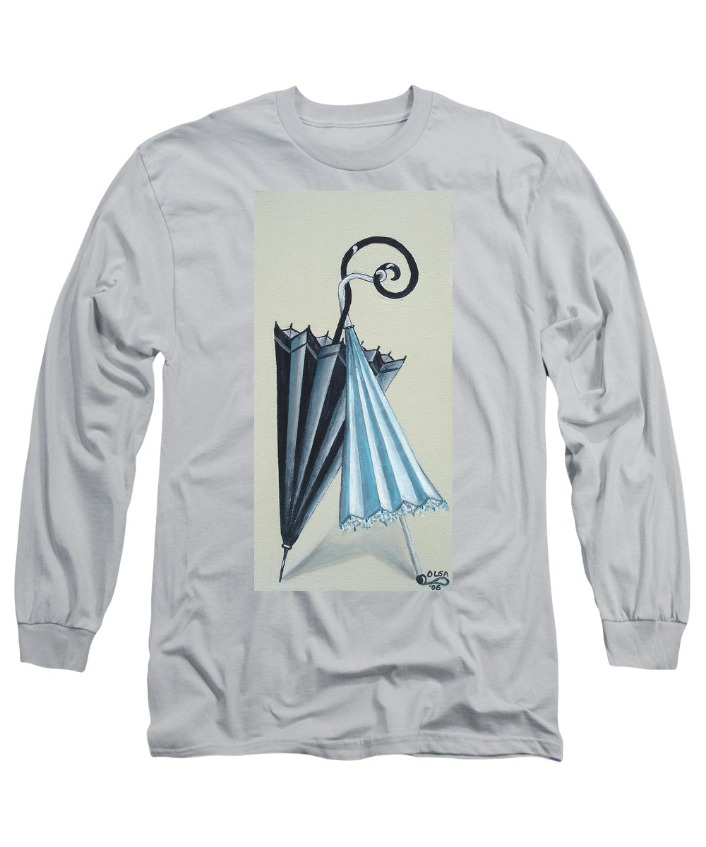 Umbrellas Long Sleeve T-Shirt featuring the painting Goog Morning by Olga Alexeeva