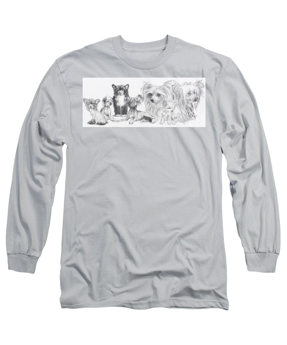 Toy Group Long Sleeve T-Shirt featuring the drawing Growing Up Chinese Crested And Powderpuff by Barbara Keith
