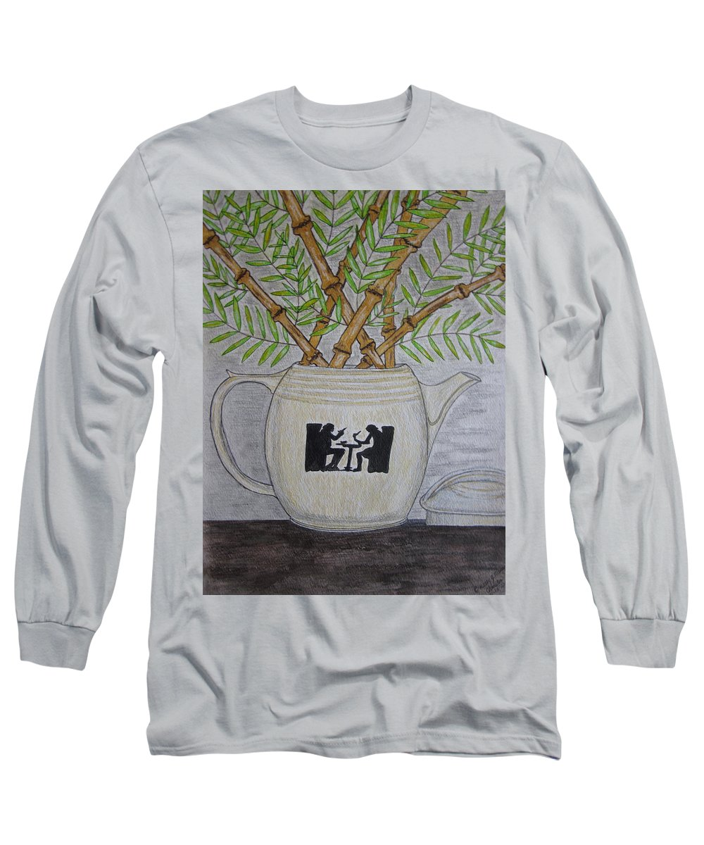 Hall China Long Sleeve T-Shirt featuring the painting Hall China Silhouette Pitcher With Bamboo by Kathy Marrs Chandler