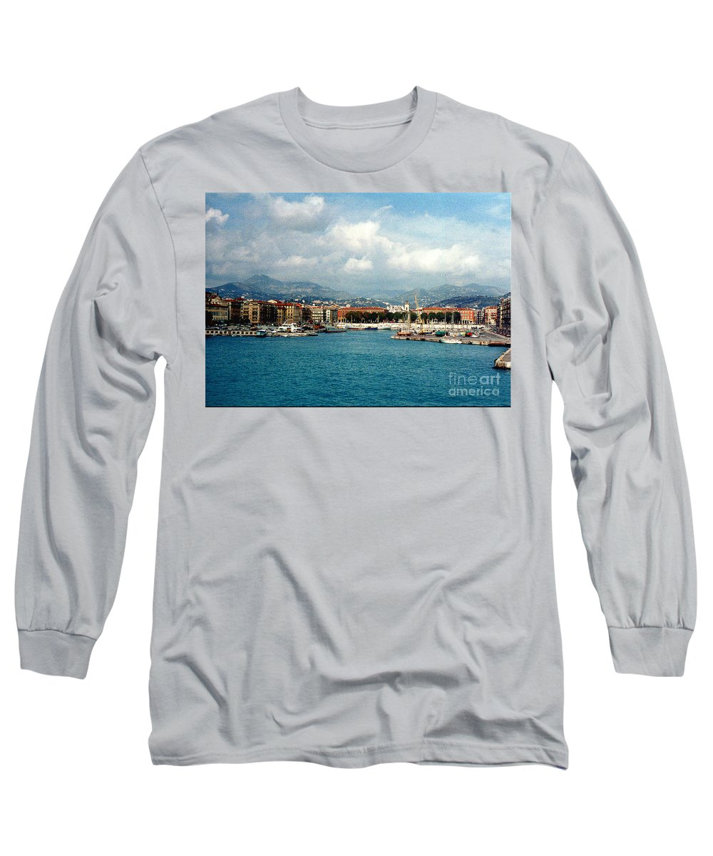 Landscape Long Sleeve T-Shirt featuring the photograph Harbor Scene In Nice France by Nancy Mueller