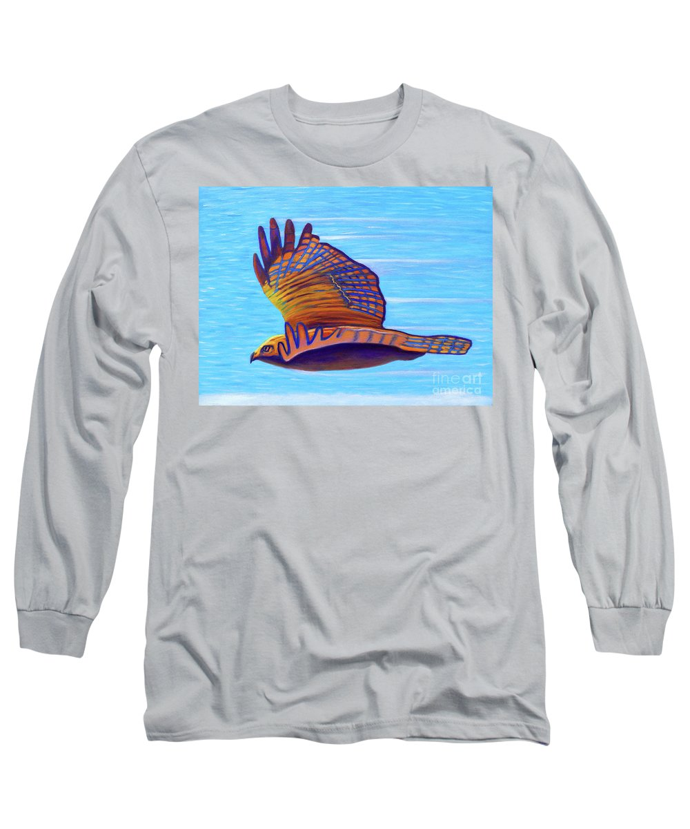 Hawk Long Sleeve T-Shirt featuring the painting Hawk Speed by Brian Commerford