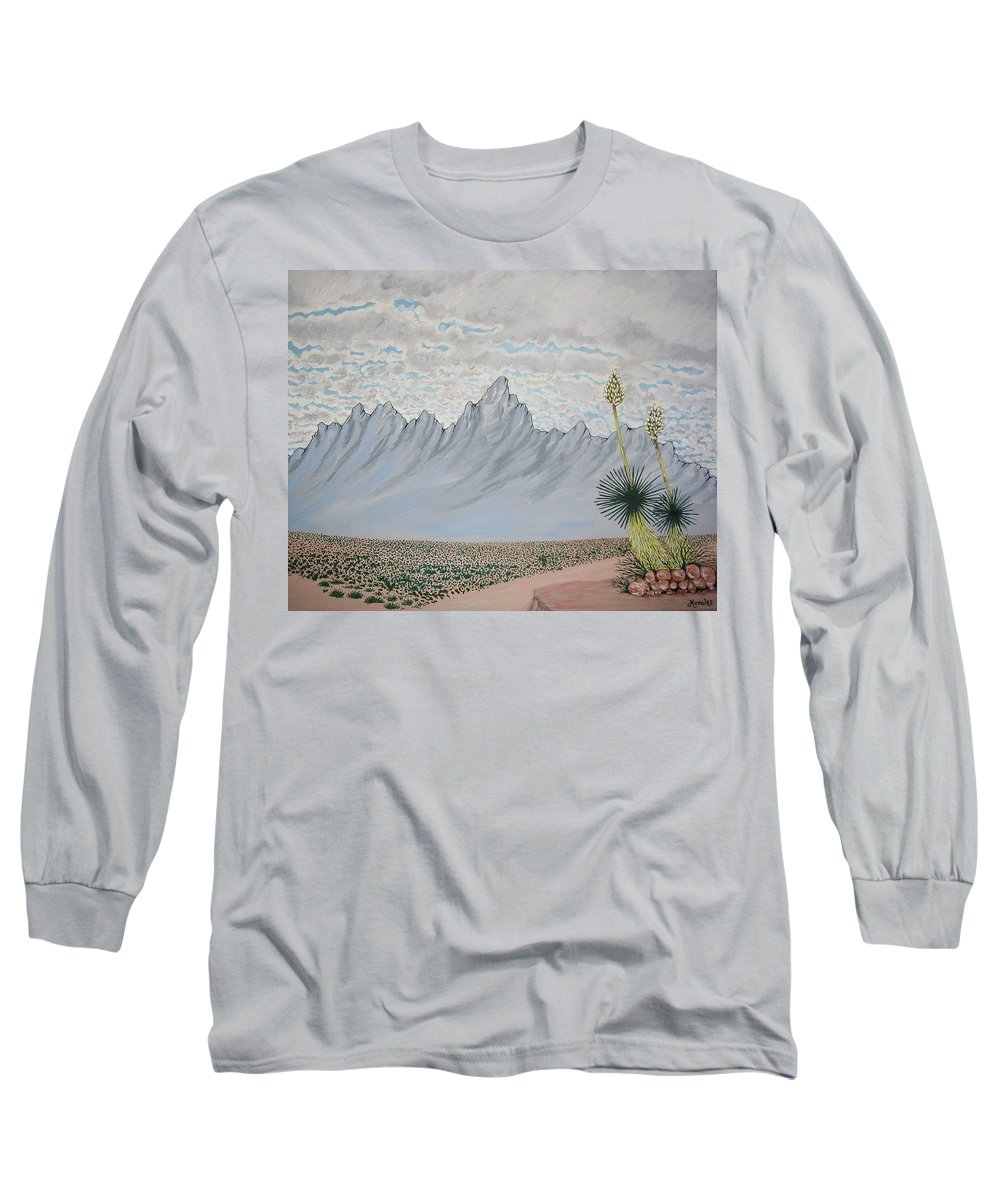Desertscape Long Sleeve T-Shirt featuring the painting Hazy Desert Day by Marco Morales