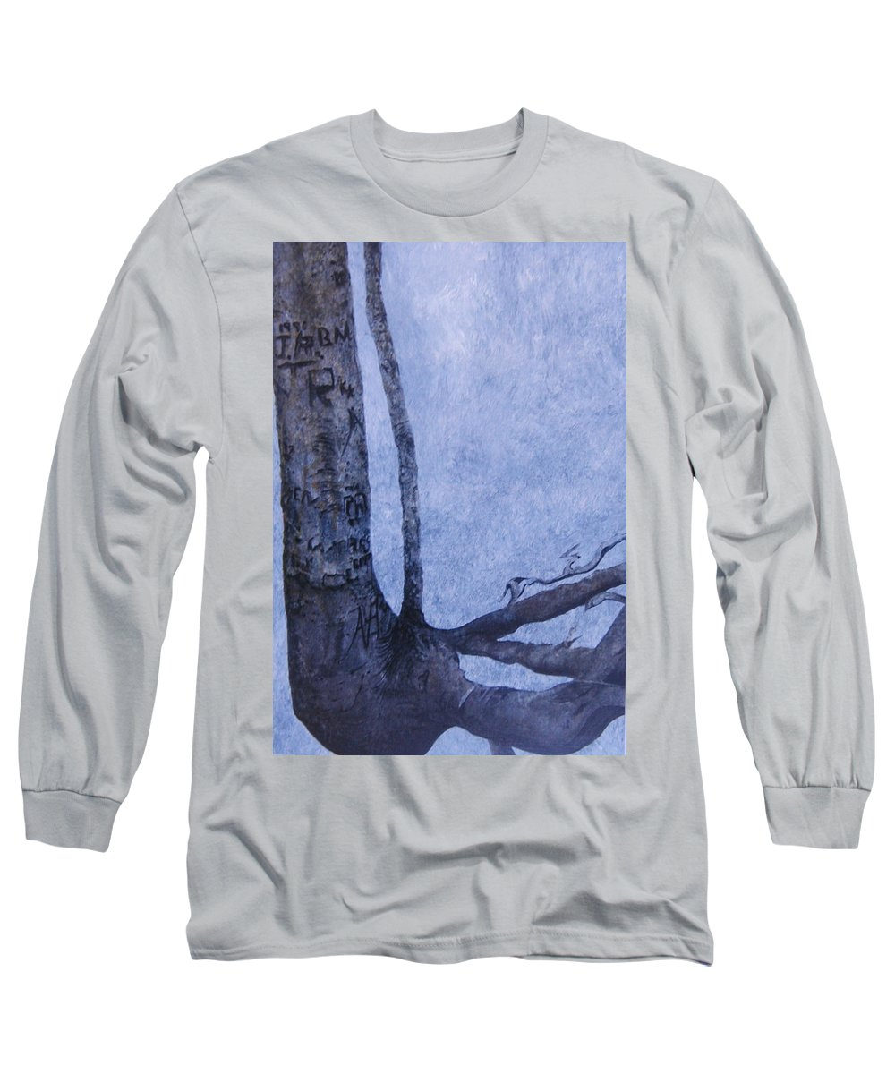 Tree Trunk Long Sleeve T-Shirt featuring the painting Hedden Park II by Leah Tomaino