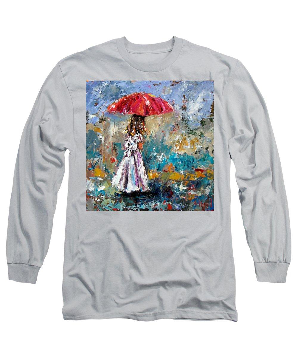 Children Art Long Sleeve T-Shirt featuring the painting Her White Dress by Debra Hurd
