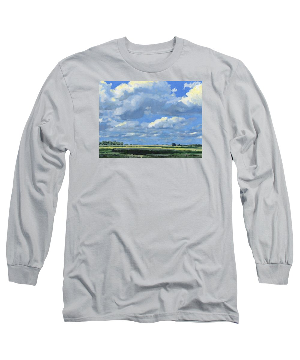 Landscape Long Sleeve T-Shirt featuring the painting High Summer by Bruce Morrison