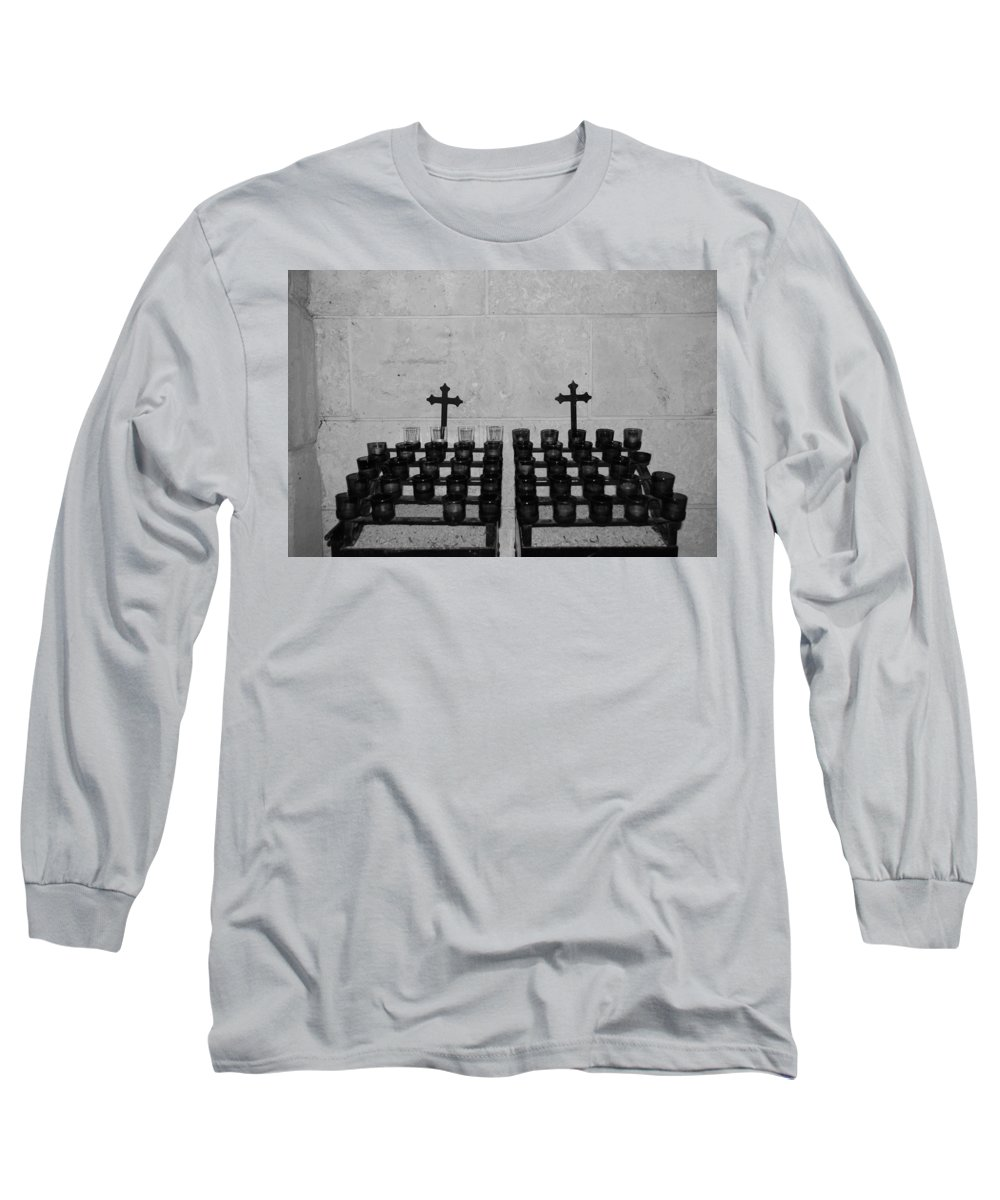 Black And White Long Sleeve T-Shirt featuring the photograph Holy Candles.... by Rob Hans
